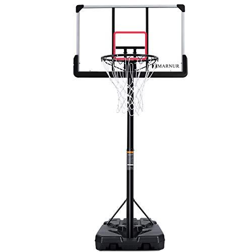 MARNUR Basketballkorb Outdoor Basketballständer Basketballkorb mit Ständer Tragbare Basketballtor-Basketballausrüstung mit Einstellbarer Höhe mit großem Rückenbrett und Rädern und großer Basis