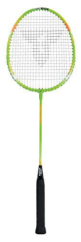 Talbot Torro Badmintonschläger Fighter,Federballschläger für Einsteiger mit robustem, gehärtetem Stahlschaft und leichtem Aluminium-Kopf, Farbe: Grün-Orange, 429807