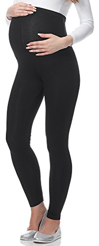 Be Mammy Lange Umstandsleggings aus Viskose BE-02 (Schwarz, M)