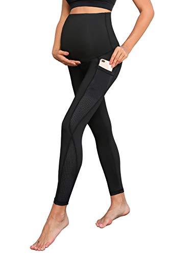 Maacie Damen Umstandsmode Hose 7/8 Lange Blickdicht Yoga Hose Sporthose Leggins für Fitness Sporthose Stretch Workout Training Jogginghose MCE02107-1_L