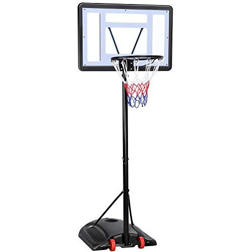 Yaheetech Basketballkorb Basketballständer mit Rollen Basketballanlage Standfuß mit Wasser Sand Höheverstellbar 217 bis 279 cm
