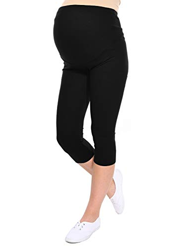 Oasi Mija Gute Qualität Umstandsleggings für Schwangere Capri 3/4 Leggings/Hose 3082 (M, Schwarz)