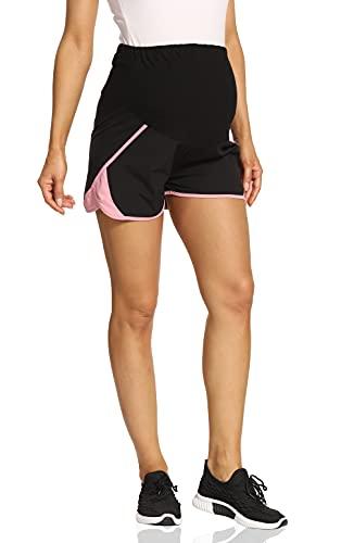 Kegiani Umstandsshorts Damen Komfortable Kurze Umstandshose Schnelltrocknend Sportshorts Running Fitness Trainingsshorts für Sommer,Schwarz Medium