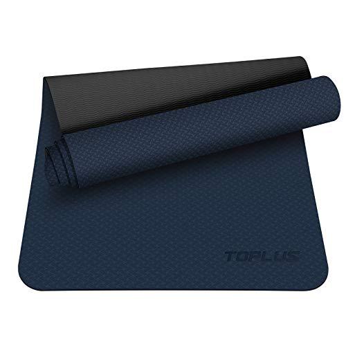 TOPLUS Preumium Yogamatte aus hochwertigen TPE, rutschfest Yogamatte Gymnastikmatte Übungsmatte Sportmatte für Yoga, Pilates,Fitness usw.-Dunkelblau&Grau
