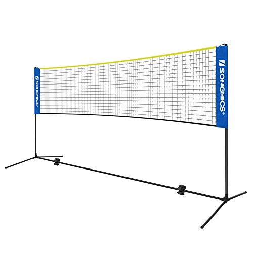 SONGMICS 5 m Badmintonnetz, Tennisnetz, höhenverstellbar, Set bestehend aus Netz, stabilem Metallgestell und Transporttasche, blau-gelb SYQ500Q02