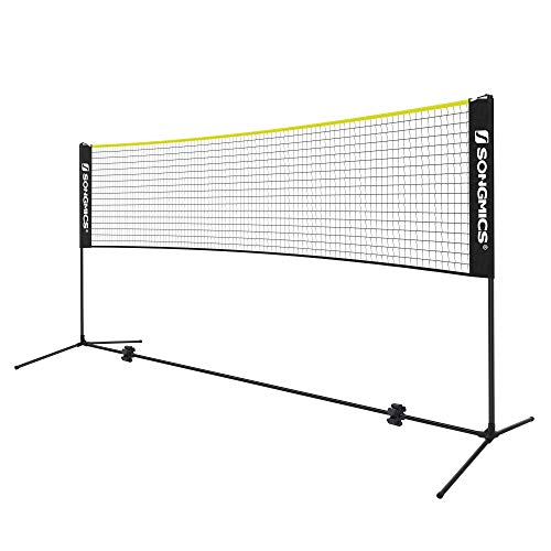 SONGMICS 4 m Badmintonnetz, Tennisnetz, höhenverstellbar, Set bestehend aus Netz, stabilem Metallgestell und Transporttasche, schwarz-gelb SYQ400B02