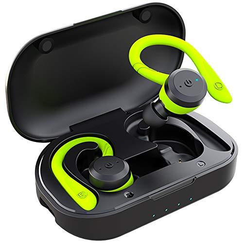 APEKX Wireless Sport Kopfhörer 5.0, IPX7 Wasserdicht, Stereo-Sound, Eingebautes Mikrofon Headset mit Magnetischen Tragbaren Ladetasche, Hände Freianruf für IOS,Andriod (Grün)