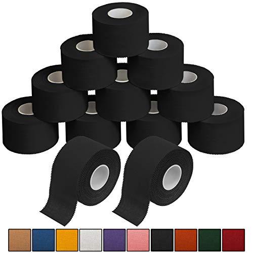 ALPIDEX 12 x Sport-Tape 3,8 cm x 10 m in 10, Farbe:schwarz