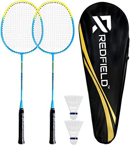 Redfield™ Badminton Set - 2 Badmintonschläger - 2 Federbälle - Tragetasche - Federball Set für 2 Spieler - Outdoor/Indoor-Spiel