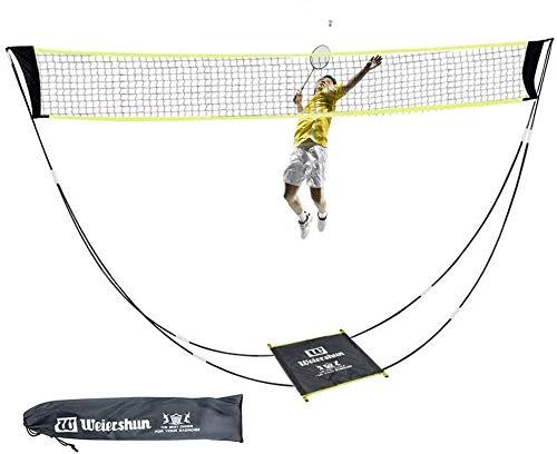 KIKILIVE Tragbares Badminton-Netz-Set mit Stand-Tragetasche,Volleyballnetz für den Indoor-Strandsport im Freien - in Sekundenschnelle auf jedem Untergrund aufstellbar (schwarz.)