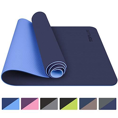 TOPLUS Gymnastikmatte, Yogamatte Yogamatte Gepolstert & rutschfest für Fitness Pilates & Gymnastik mit Tragegurt - Maße 183cm Länge 61cm Breite - Blau