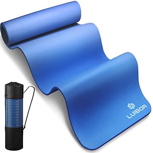 Luibor Yogamatte, Sportmatte Gymnastikmatte 10 mm dicke Fitness und Trainingsmatte Rutschfeste mit Tragetasche, Benutzerfreundliche Trainingsmatte für Yoga, Training, Pilates (Blue)