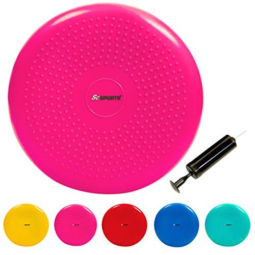 ScSPORTS Ballsitzkissen mit Pumpe, Rückentraining & Koordinationstraining, Balancekissen für Pilates, Ø 34 cm (pink)