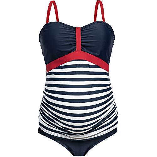 Herzmutter Umstands-Tankini-Schwangerschafts-Bademode - Zweiteiler-Badeanzug für Schwangere - Bandeau-Tankini-Set - Streifen-Muster-Punkte - Übergrößen - UV-Schutz 50-7000 (M, Blau-Weiß)