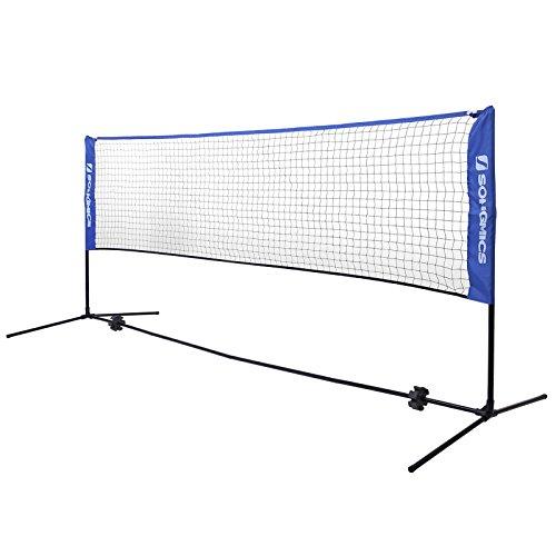 SONGMICS 4 m Badmintonnetz, Tennisnetz, höhenverstellbar, Set bestehend aus Netz, stabilem Eisen-Gestell und Transporttasche SYQ400