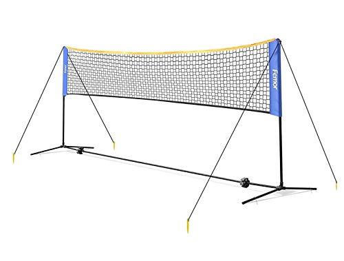 femor Badminton Netz Tennisnetz 5m Tragbares Volleyball mit Verstellbaren Höhen faltbares Federballnetz Outdoor Trainingsnetz,3 Höhe: 107/120/155cm