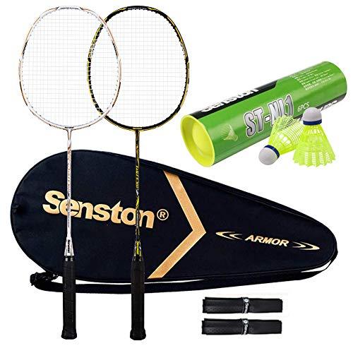 Senston S300 100% Graphit Badminton Set Carbon Badmintonschläger Graphit Badminton Schläger mit Schlägertasche und 6 Stück Nylon Federbälle
