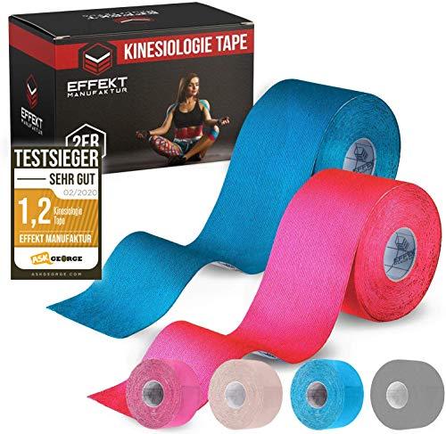 Effekt Manufaktur - [5m x 5cm] Kinesiologie Tape in versch. Farben [2er Set] Kinesiotapes Wasserfest & Elastisch für Sport I Kinesiotape Physio Tape Kinesio Set (Hellblau + Pink)