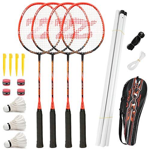 Fostoy Badmintonschläger, Badmintonschläger Set mit 4 Badmintonschlägern und 3 Federbällen, Tragetasche, Kohlefaser Komplettes Badminton Set für Erwachsene, Anfänger, Kinder (Red)