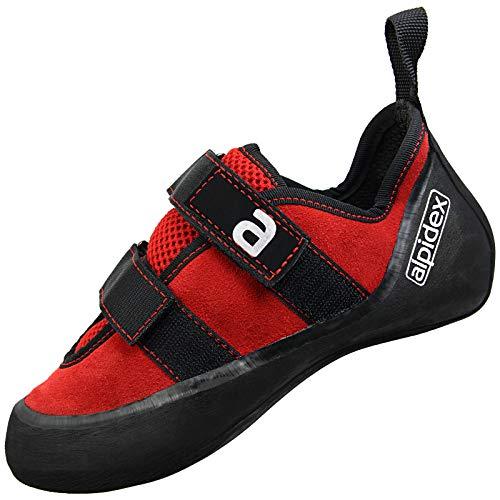 ALPIDEX Kletterschuhe Leder für Damen und Herren mit Klettverschluss, Gute Kantenstabilität, Leichter Downturn, leichte Vorspannung, erhältlich in den Größen 36-49, Größe:44