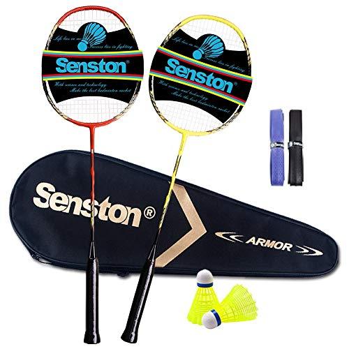 Senston 2 Player Badminton Set Carbon Badmintonschläger Graphit Badminton Schläger Perfect Badminton Schlaeger mit Schlägertasche