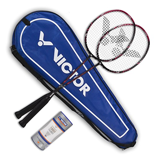 VICTOR Badminton Set, 2x Ultramate 8 / Racketbag / 3x Nylonball, matt Bronze, 098/0/9