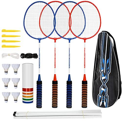 trounistro Badminton Set, 4 Spieler Badmintonschläger mit 6 Federbällen, Federballschläger mit Netz und Tragetasche Komplettes Federball Set für Erwachsene, Anfänger, Kinder (Zweifarbig)