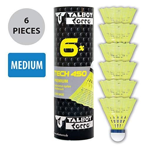 Talbot-Torro Tech 450 Badmintonbälle - 6er Dose Korb: Gelb - Blau / Mittel
