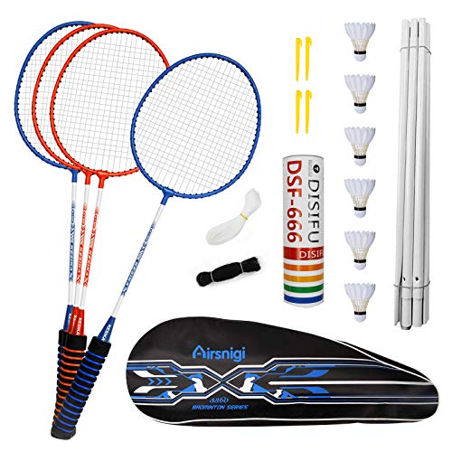 Airsnigi Badminton Set, 4er Profi Badmintonschläger mit 4 Federbälle Set, Leichtgewicht Badminton Schläger Federballschläger Set für Kinder Training, Sport und Unterhaltung mit Schlägertasche