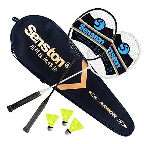Senston Carbon Profi Badminton Set Leichtgewicht Badmintonschläger Badminton Schläger Federballschläger mit Schlägertasche