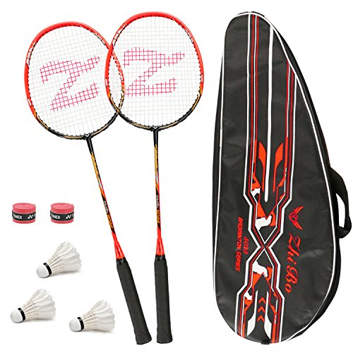 Philonext Badmintonschläger Set mit 3 Federbällen & Tragetasche & 2 Overgrip, Carbon Profi Badmintonschläger Federballschläger, Leichtgewicht Badminton Schläger, 2 Spieler Badminton Praxisschläger Set