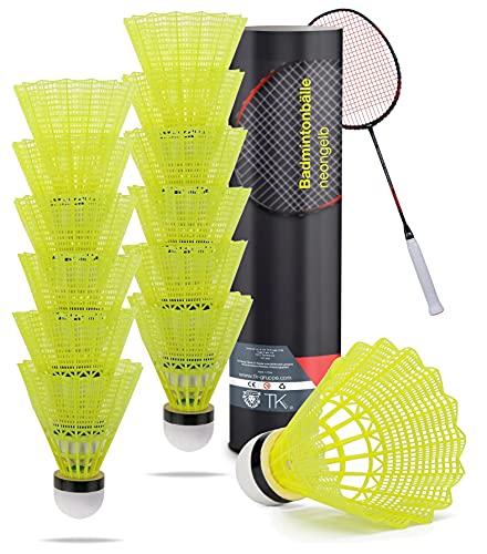 TK Gruppe Timo Klingler 12x Federbälle gelb Badmintonbälle für Training & Wettkampf Badminton - für Outdoor & Indoor (12x)